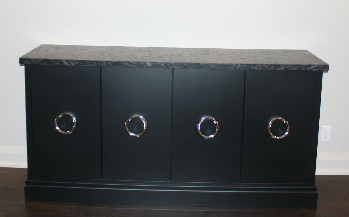 Black Cabinetry with Large Pull Rings