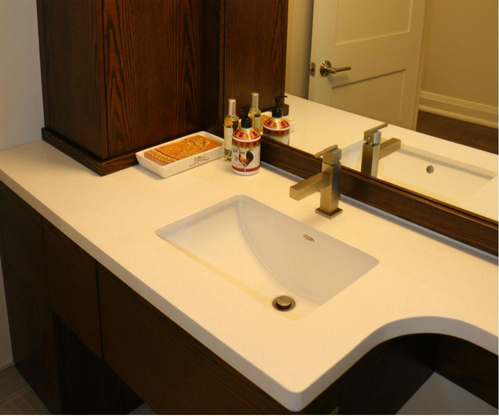 Condo Bathroom Vanity Rounded Countertop