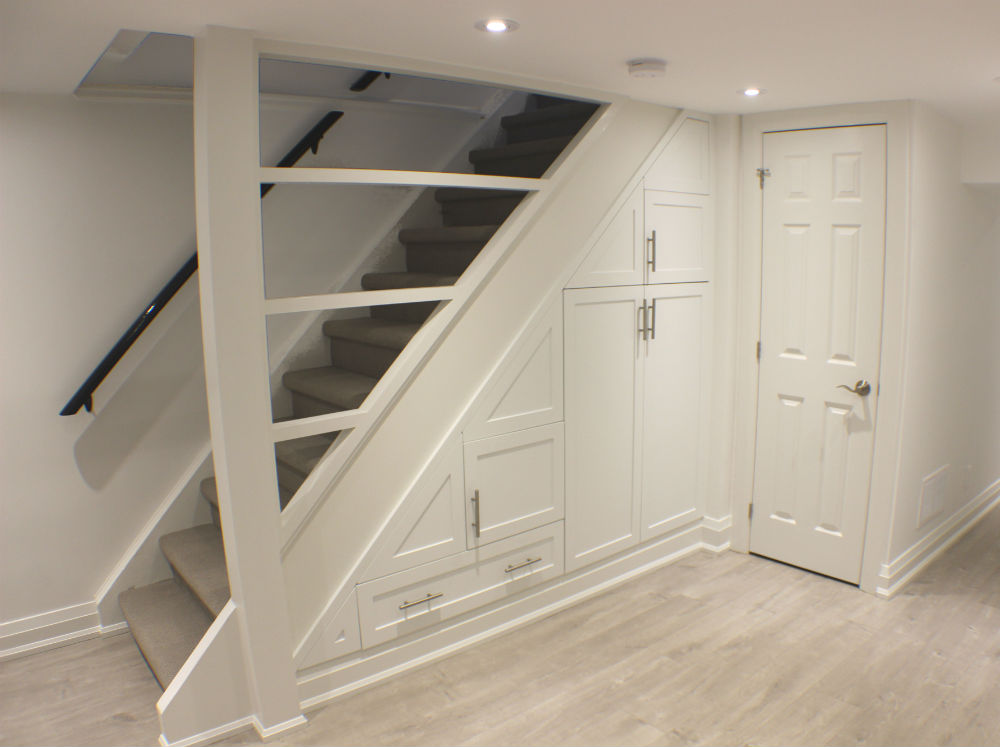 Toronto basement staircase storage toronto custom concepts kitchens bathrooms wall units - Custom cabinet doors toronto ...