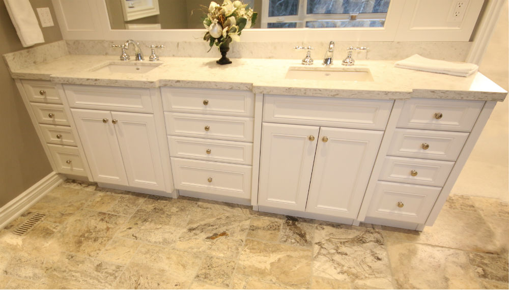The Bathroom Floors Are Stunning Limestone Layer Out In A Versailles  Pattern With NuHeat Heated Flooring.