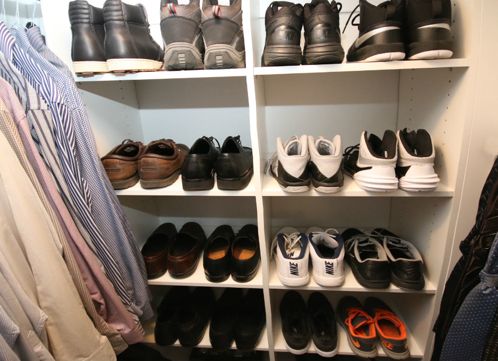 mens shoe closet basketball running shoe display